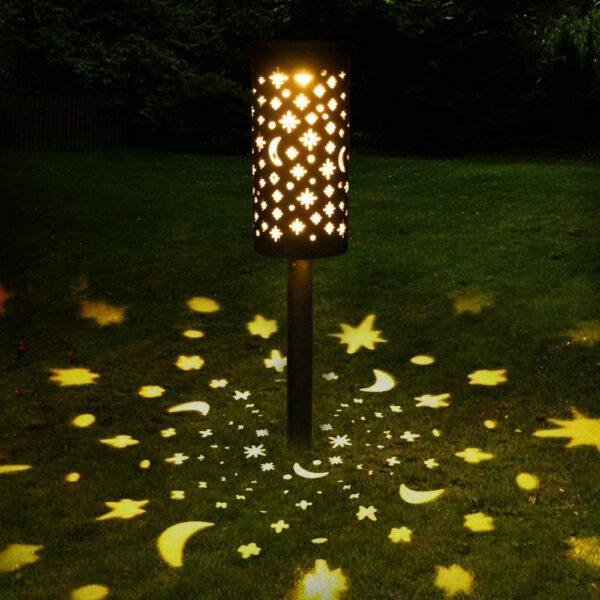 The new iron lantern hollows out the solar lawn lamp led star moon lamp outdoor garden flame plug lighting