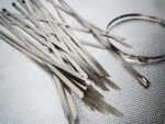 """Aroma Trees 100 pcs Metal Zip Ties 11.8"""" 304 Stainless Steel Exhaust Wrap Coated Locking Cable"""