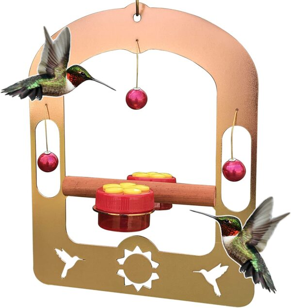 AROMA TREES Handcrafted Copper Hummingbird Swing with 2 Handheld Feeders