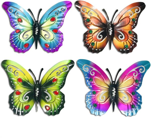 AROMA TREES Butterfly Metal Garden Wall Art Set - Set of Four (4) 14.5 inch Butterflies Blue,Orange,Green,Pink with Crystal Bead