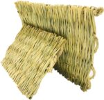 AROMA TREES 2 Grass Pet Mats Woven Bed Mat 3 Balls for Small Animal Bunny Bedding Nest Chew Toy Bed Play Toy for Guinea Pig Parrot Rabbit Bunny Hamster Rat (Pack of 5)